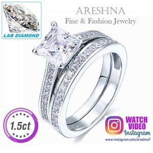 2Pcs 1.5ct Lab Diamond Princess Engagement Ring